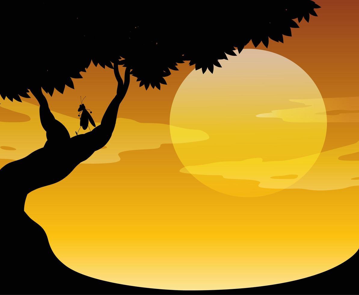 utomhus natur solnedgång scen vektor