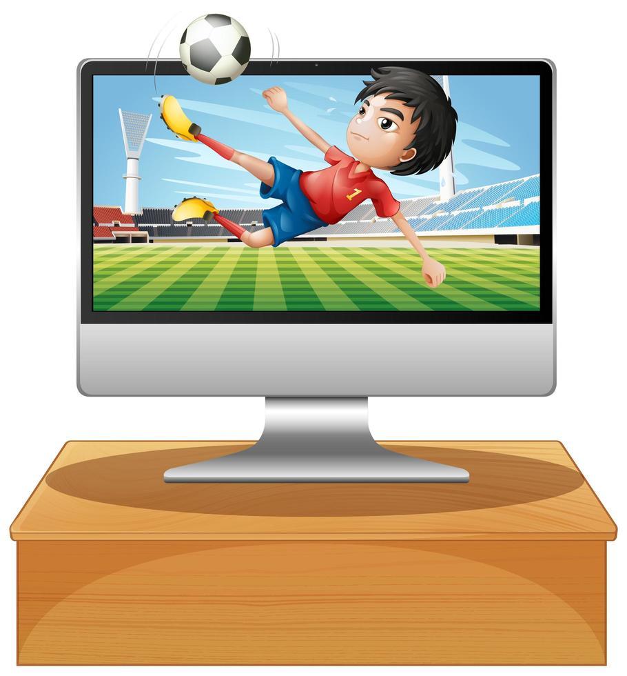 fotboll på datorns datorskärm vektor