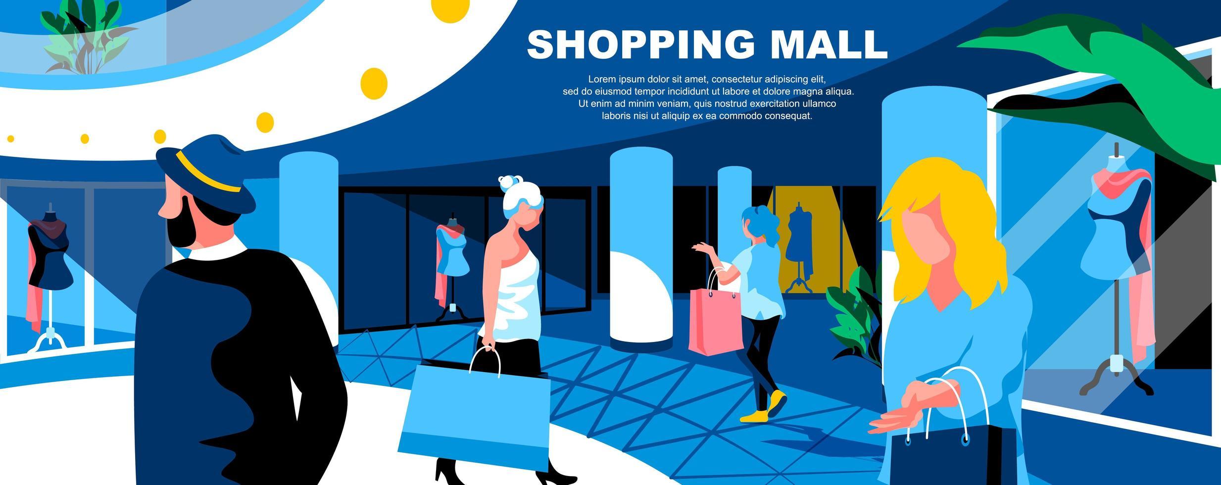 mall mall för köpcentrum platt målsida vektor