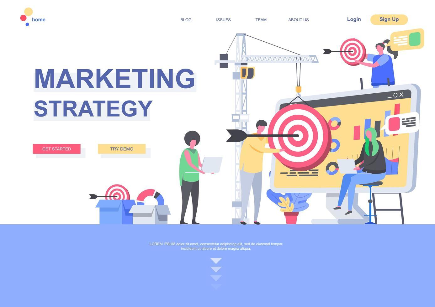 marknadsföringsstrategi platt målsidesmall vektor