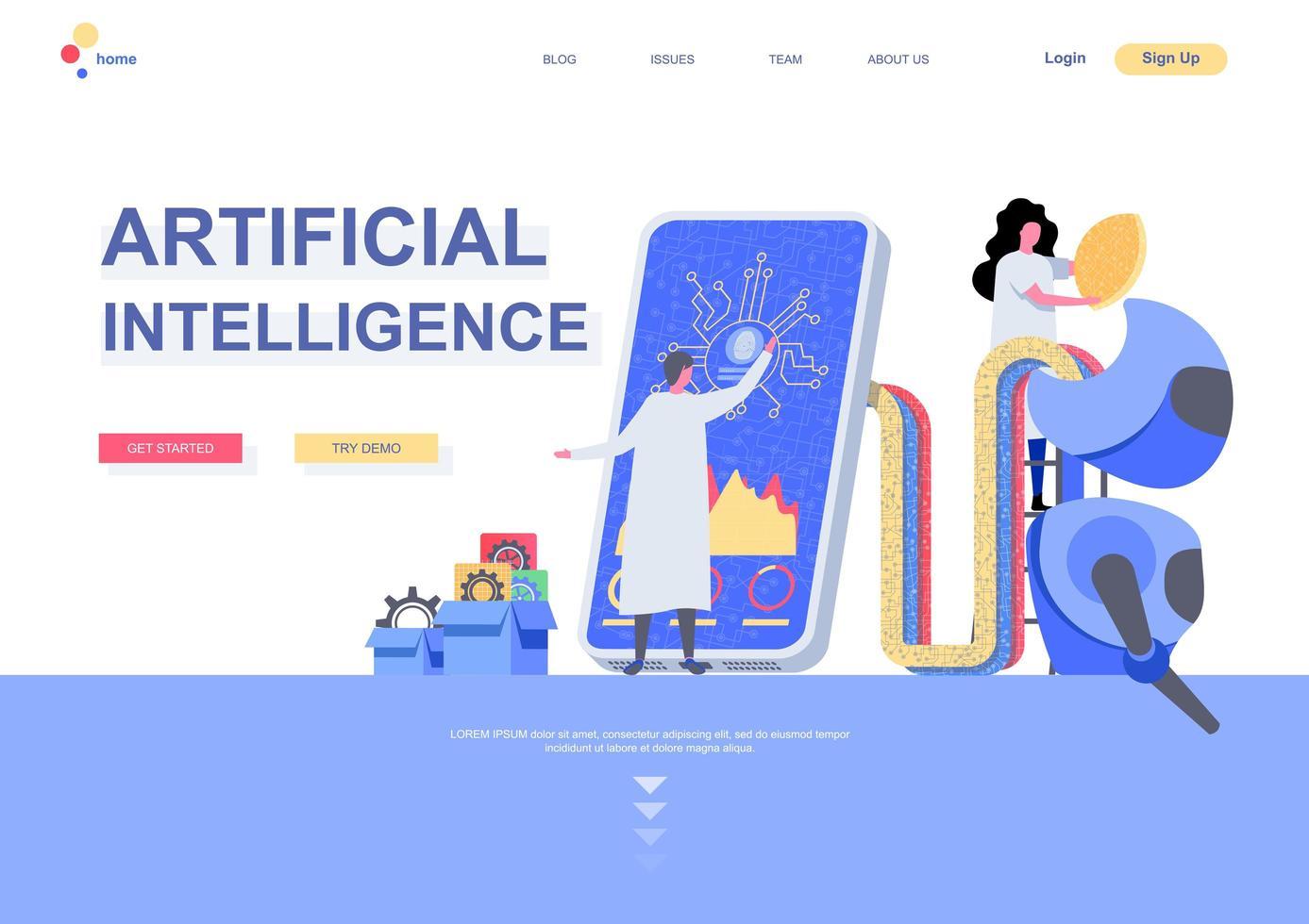 målsida mall för artificiell intelligens vektor