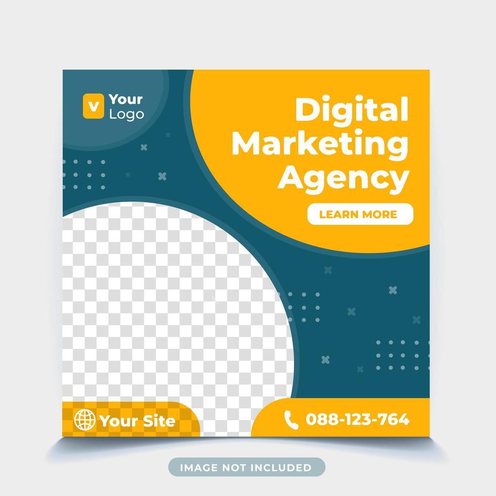 digital affärsmarknadsföring sociala medier post mall vektor