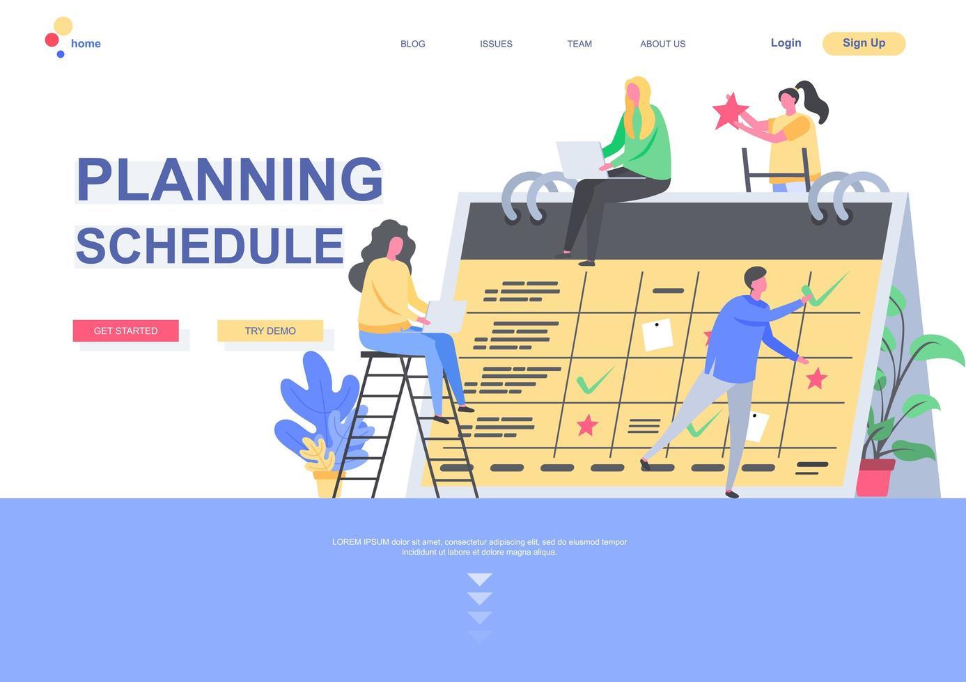 planeringsschema målsidesmall vektor