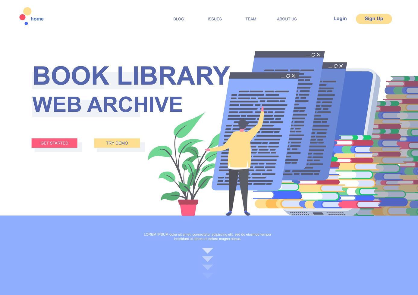bokbibliotek platt målsidesmall vektor