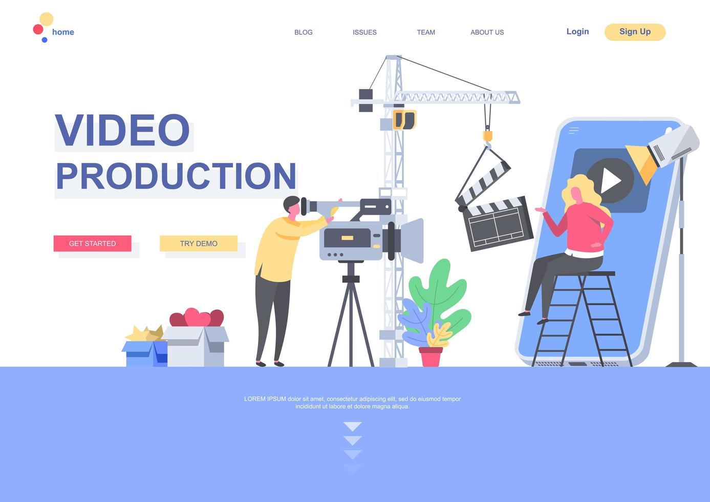 mall för videoproduktion platt målsida vektor