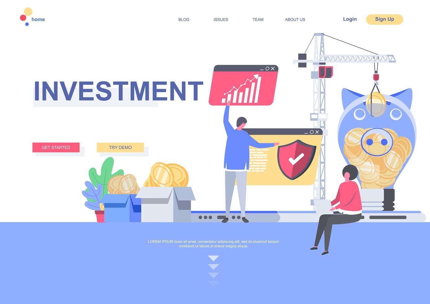 mall för investeringsmålsida vektor