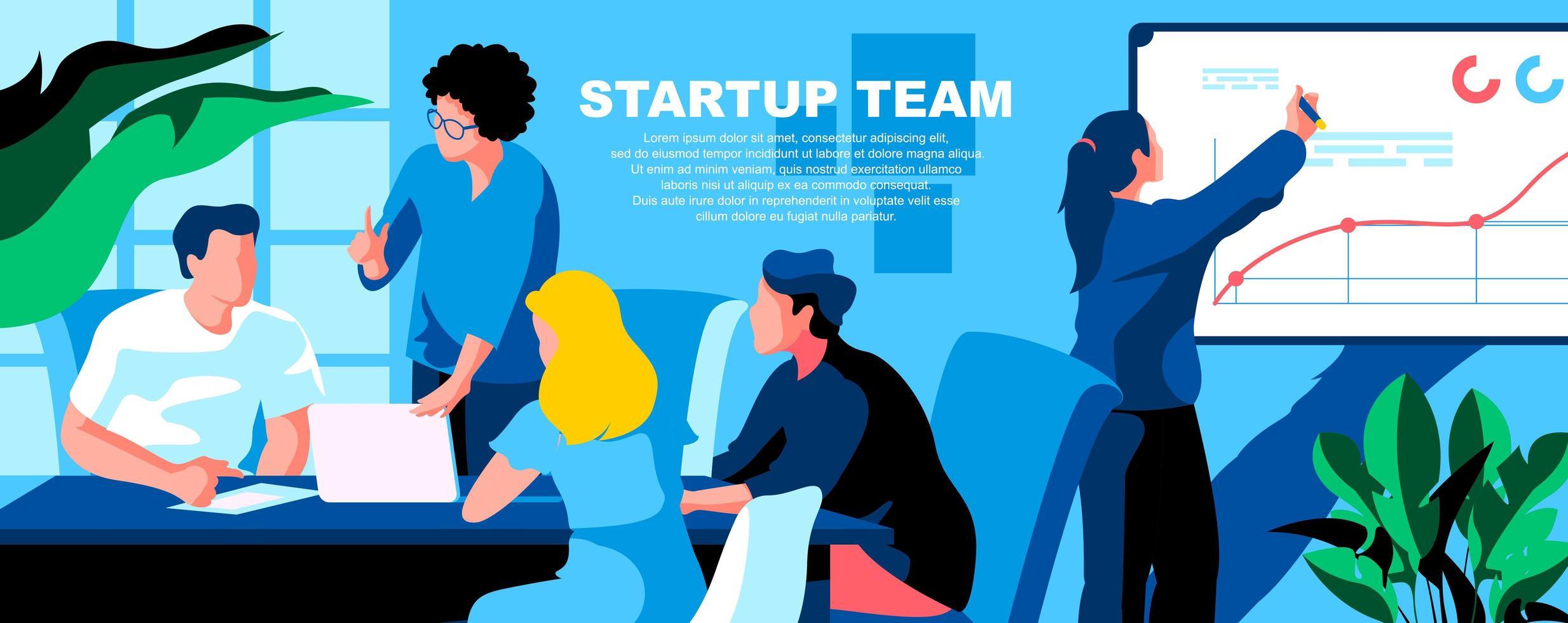 flache Landingpage-Vorlage des Startup-Teams vektor
