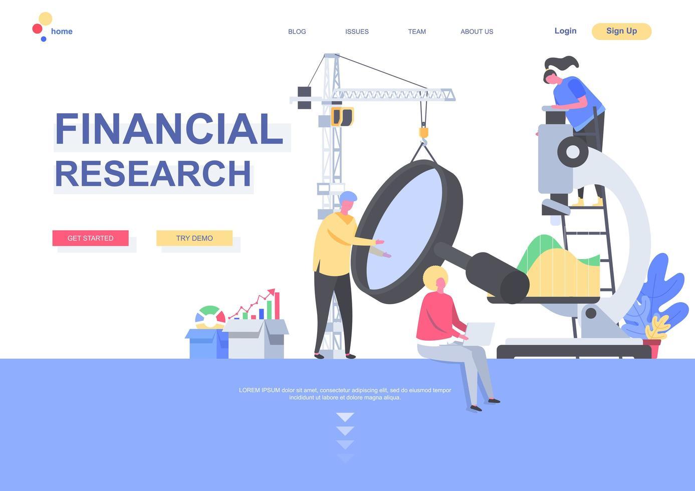 mall för finansiell forskning målsida vektor