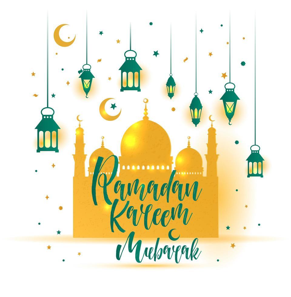 islamische Illustration des Ramadan kareem mit der niedlichen Laterne 3d vektor