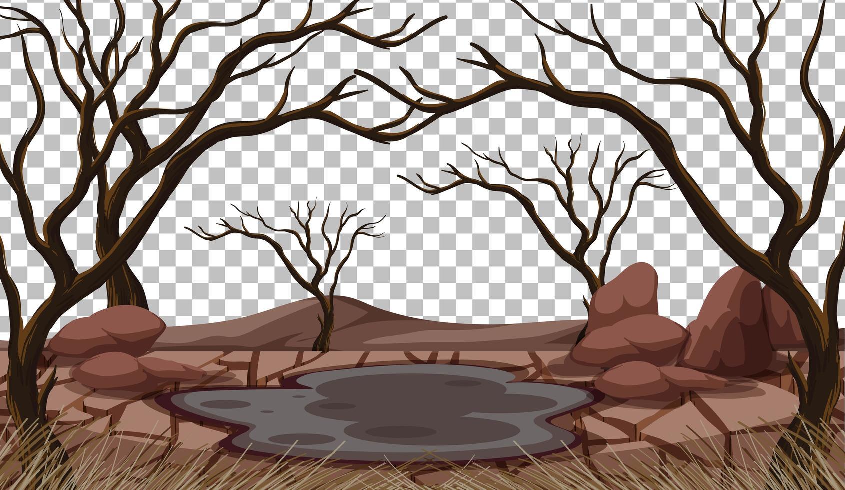 trockene rissige Landlandschaft auf transparentem Hintergrund vektor