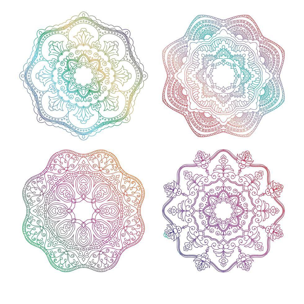 Regenbogen-Mandala-Set vektor
