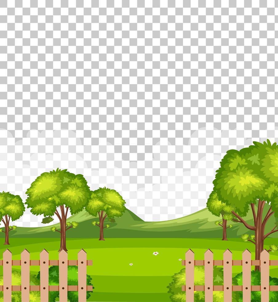 leere Naturpark-Szenenlandschaft auf transparentem Hintergrund vektor