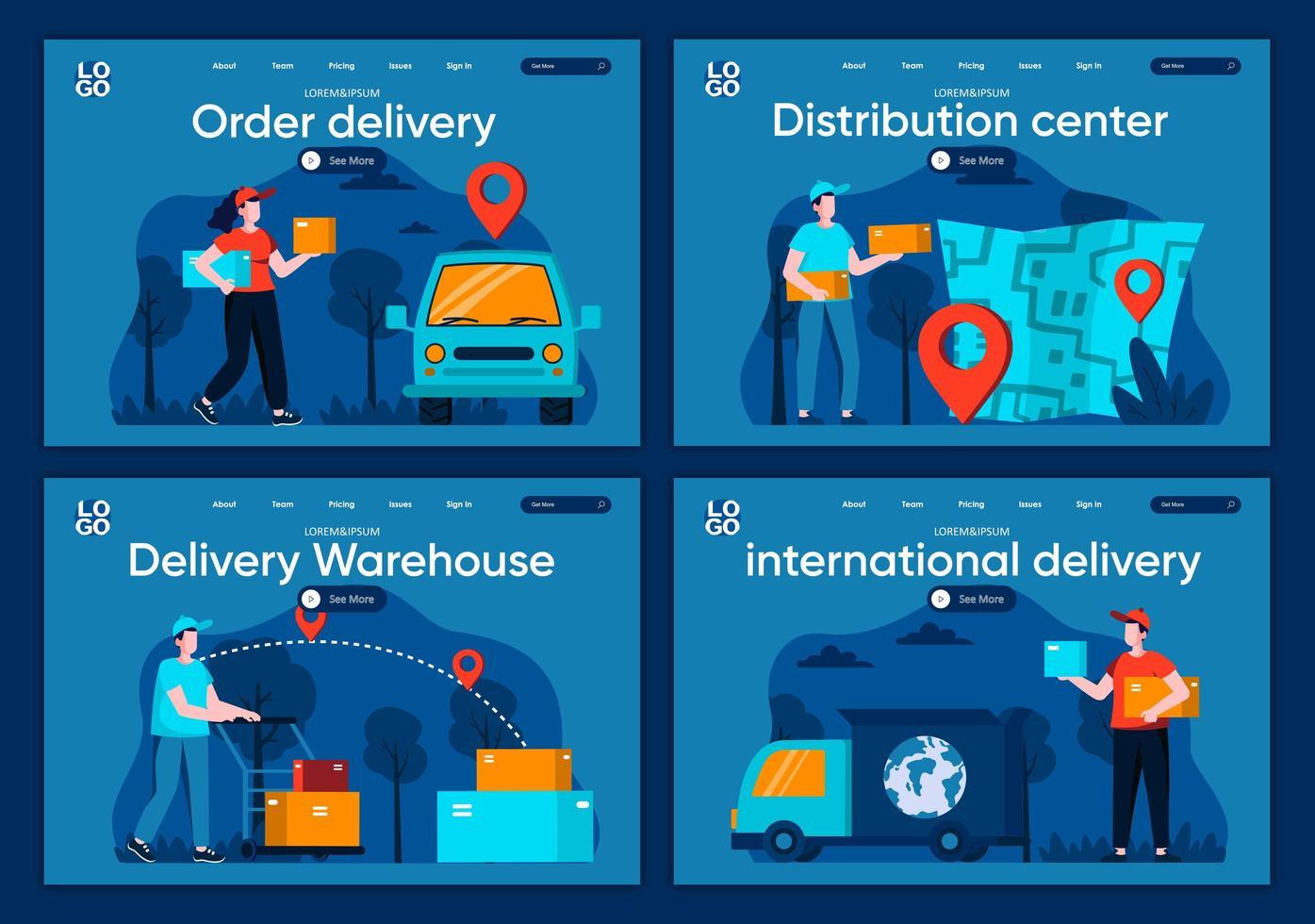 internationell leverans, plana målsidor vektor