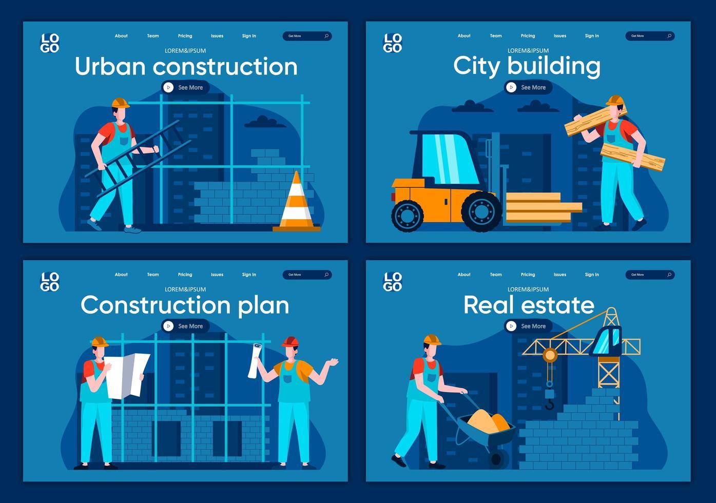 stadsbyggnad, plana målsidor vektor