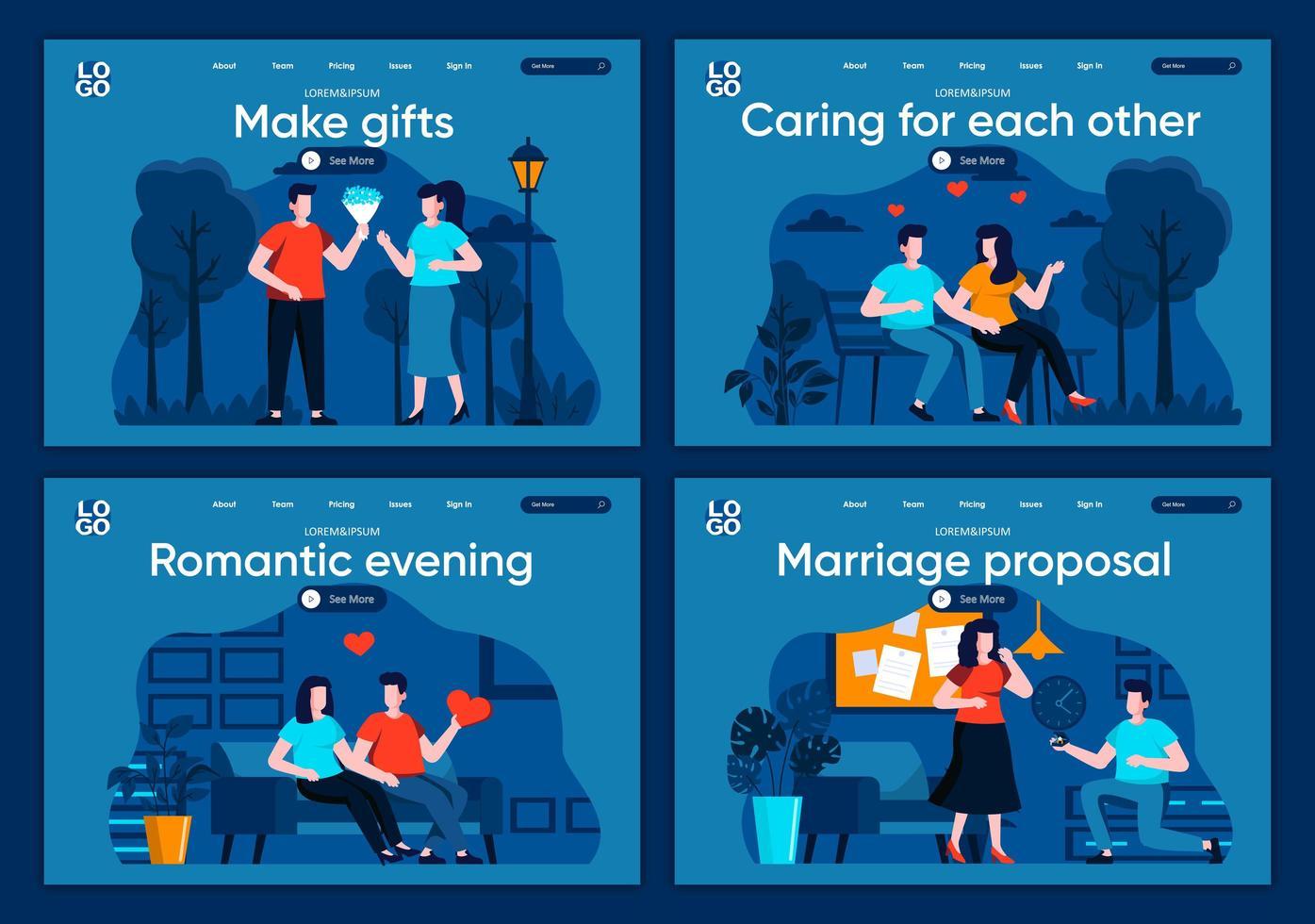 äktenskapsförslag, plana målsidor vektor