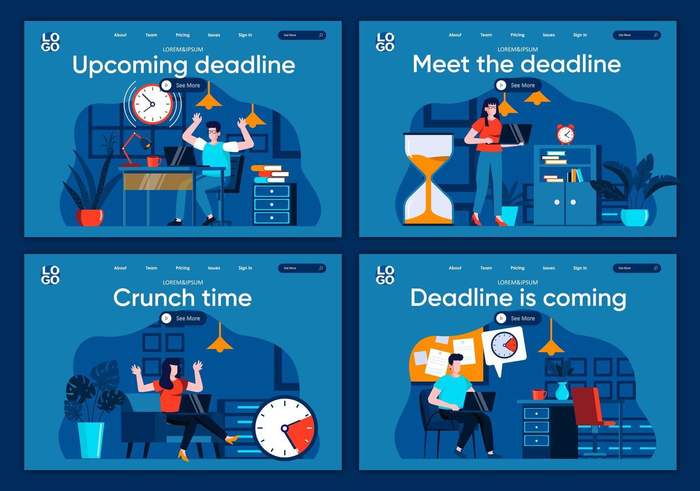 deadline kommer, plana målsidor inställda vektor