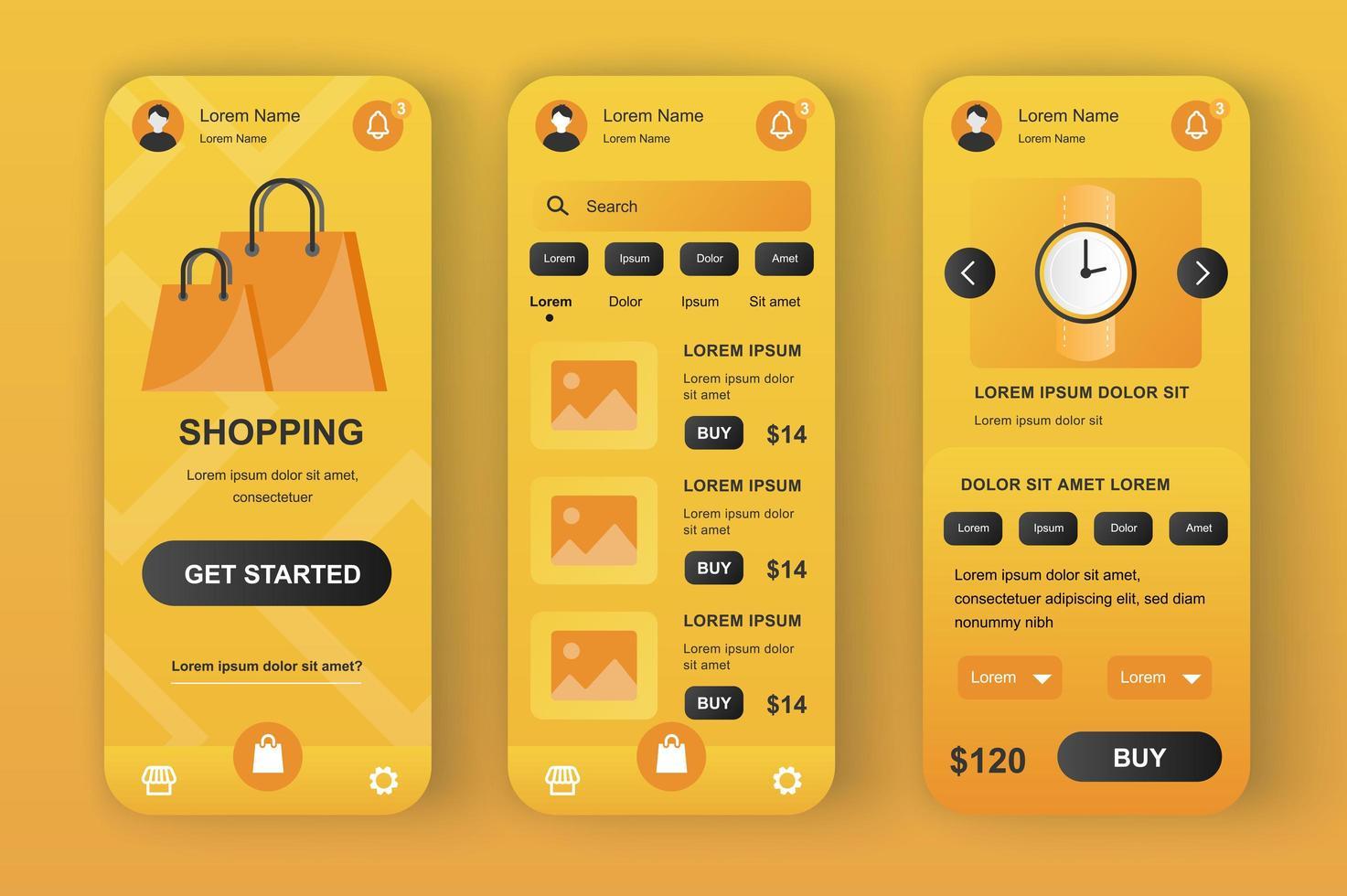 shoppinglösning, unikt neomorf design kit vektor