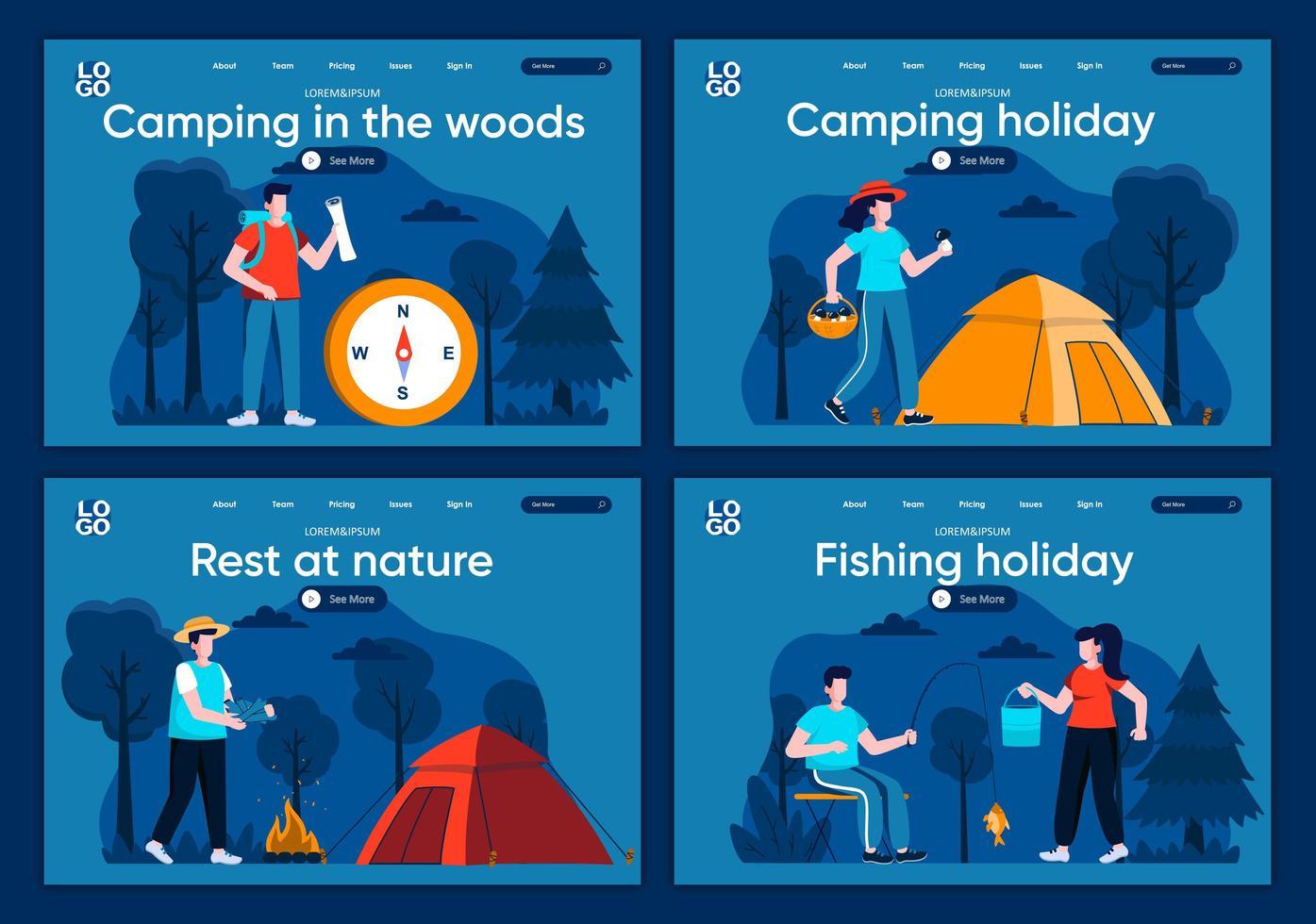 camping i skogen, plana målsidor vektor