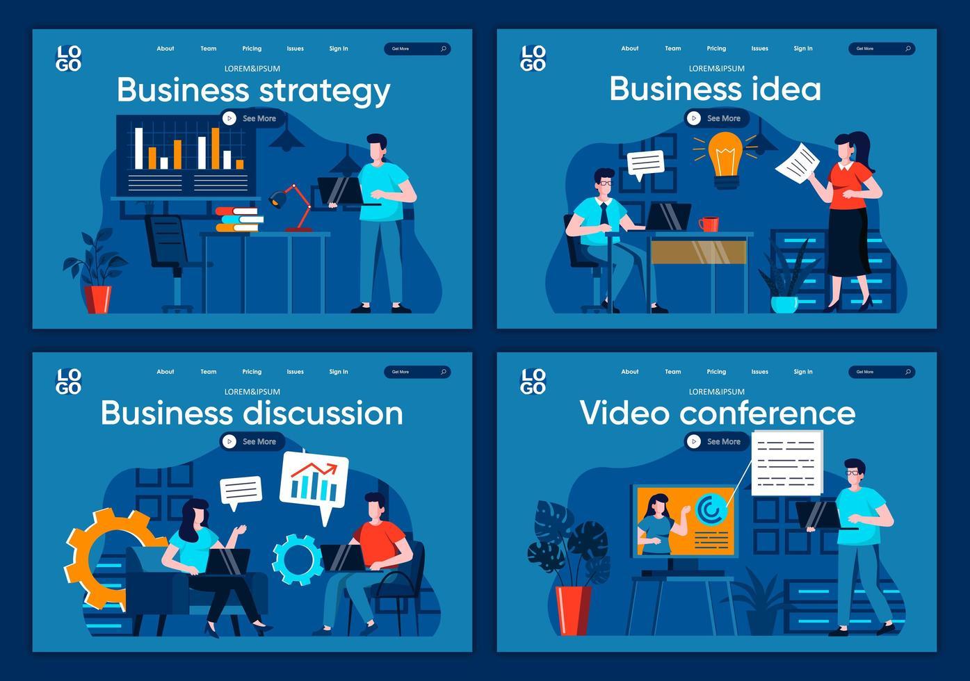 affärsstrategi, plana målsidor vektor