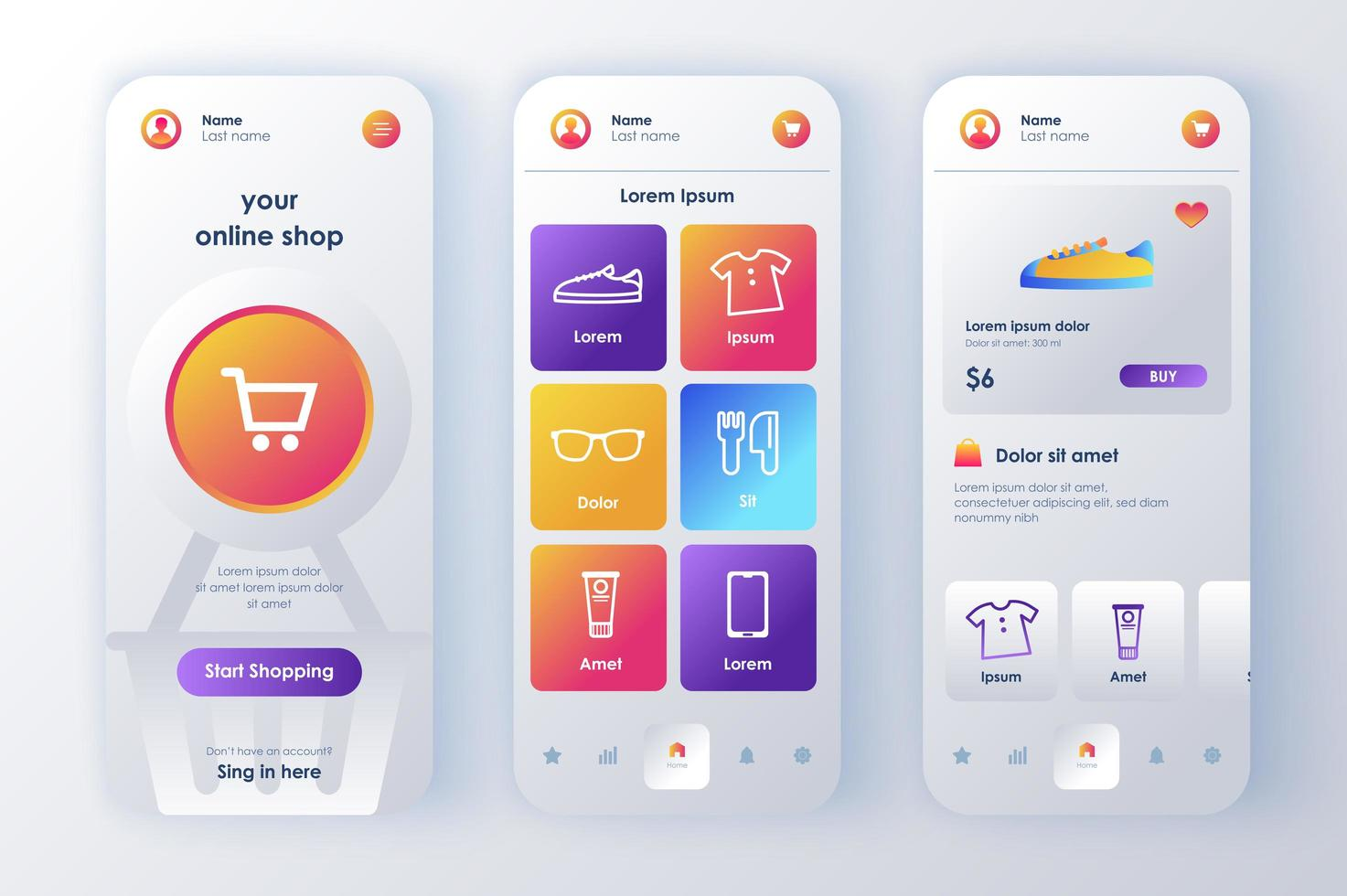 online shopping, unikt neomorf design kit vektor