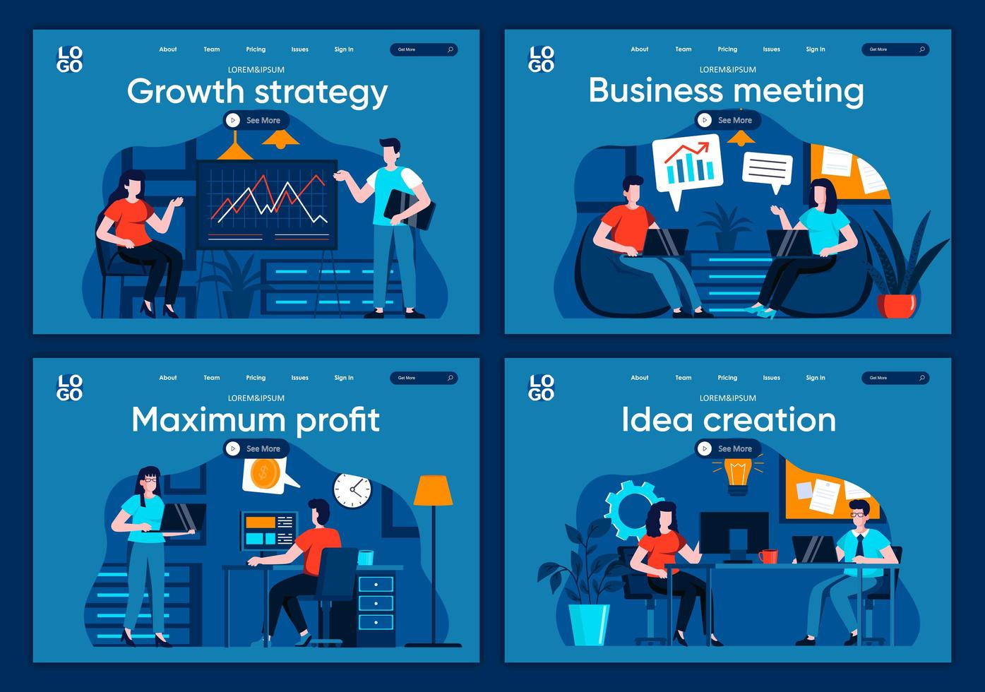 affärsmöte, plana målsidor vektor