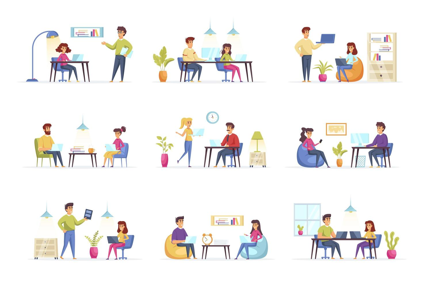 Coworking Office Bundle mit Personencharakteren vektor