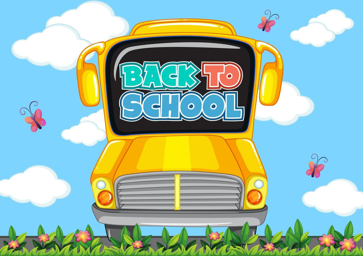 tillbaka till skolmall med skolbuss vektor
