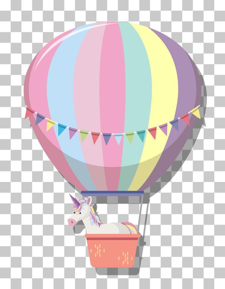 söt enhörning i regnbågspastell varmluftsballong isolerad på transparent bakgrund vektor
