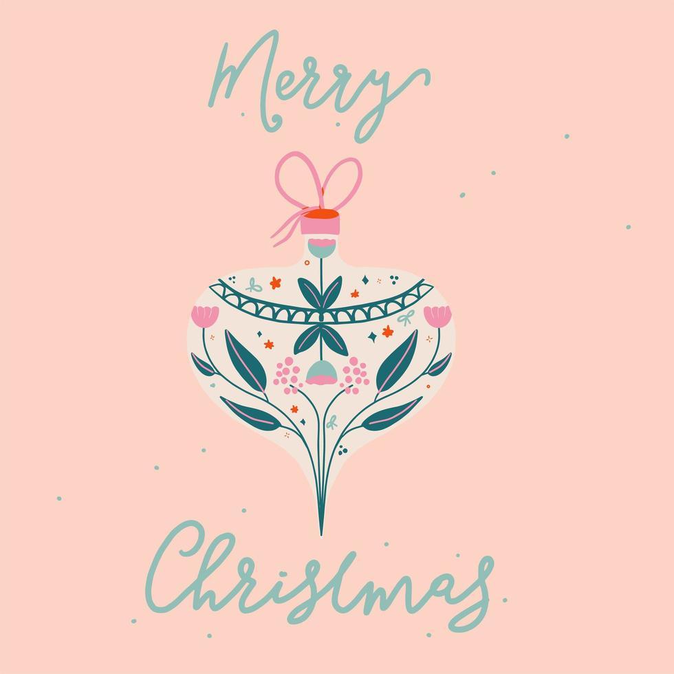 Retro Hand gezeichnete Frohe Weihnachten Ornament und Typografie vektor