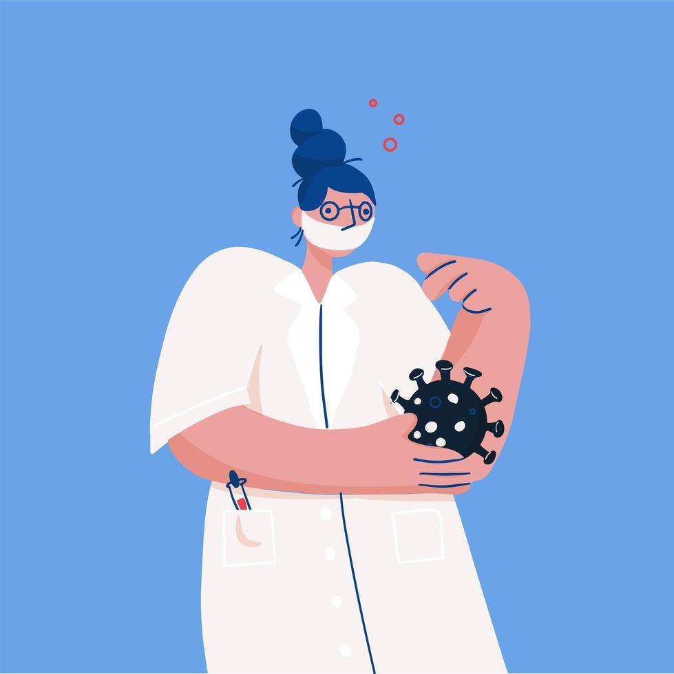 Arzt mit Gesichtsmaske erforscht das Virus vektor