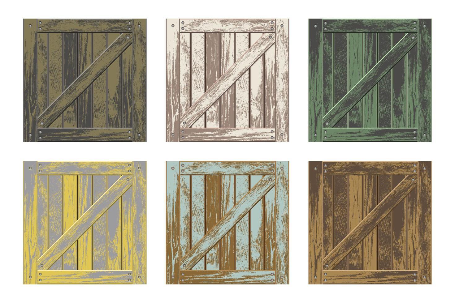 färgglada uppsättning trälådor vektor