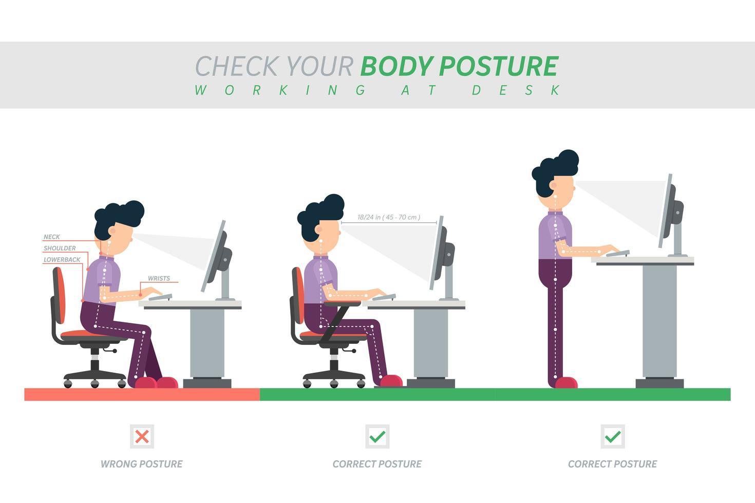 ergonomische Haltung des Sitzens am Schreibtisch Infografik vektor
