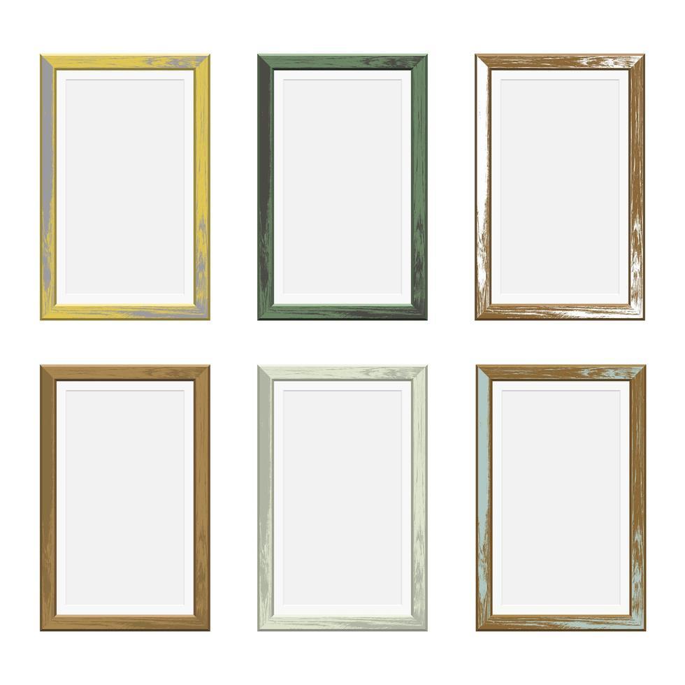 rektangel träfotoramar i olika färger vektor