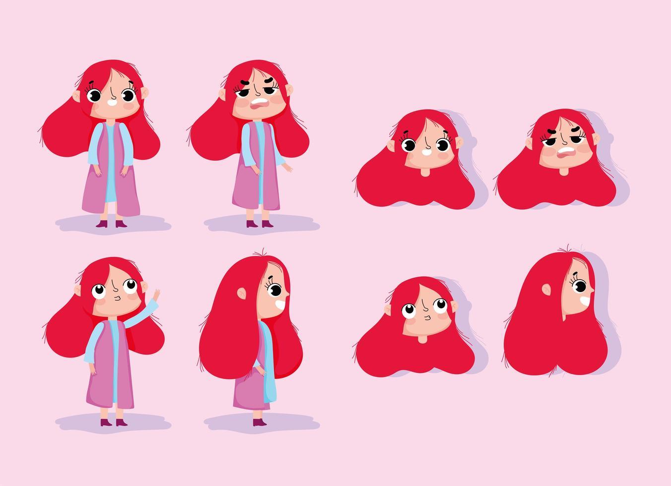 tecknad animation flicka karaktär ansikten och kroppar vektor