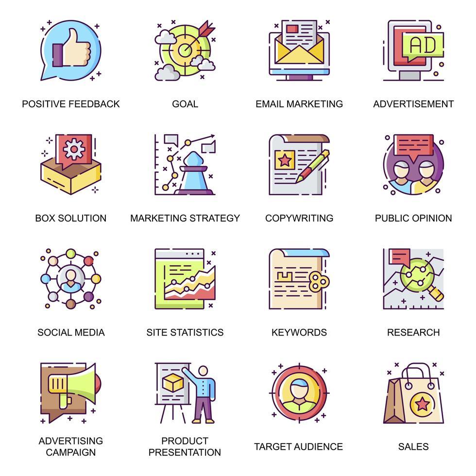 marknadsföringsstrategi platt ikoner set vektor
