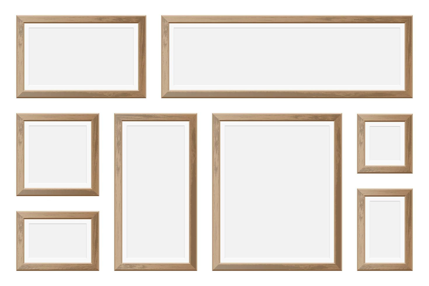 uppsättning tomma realistiska träbildramar vektor