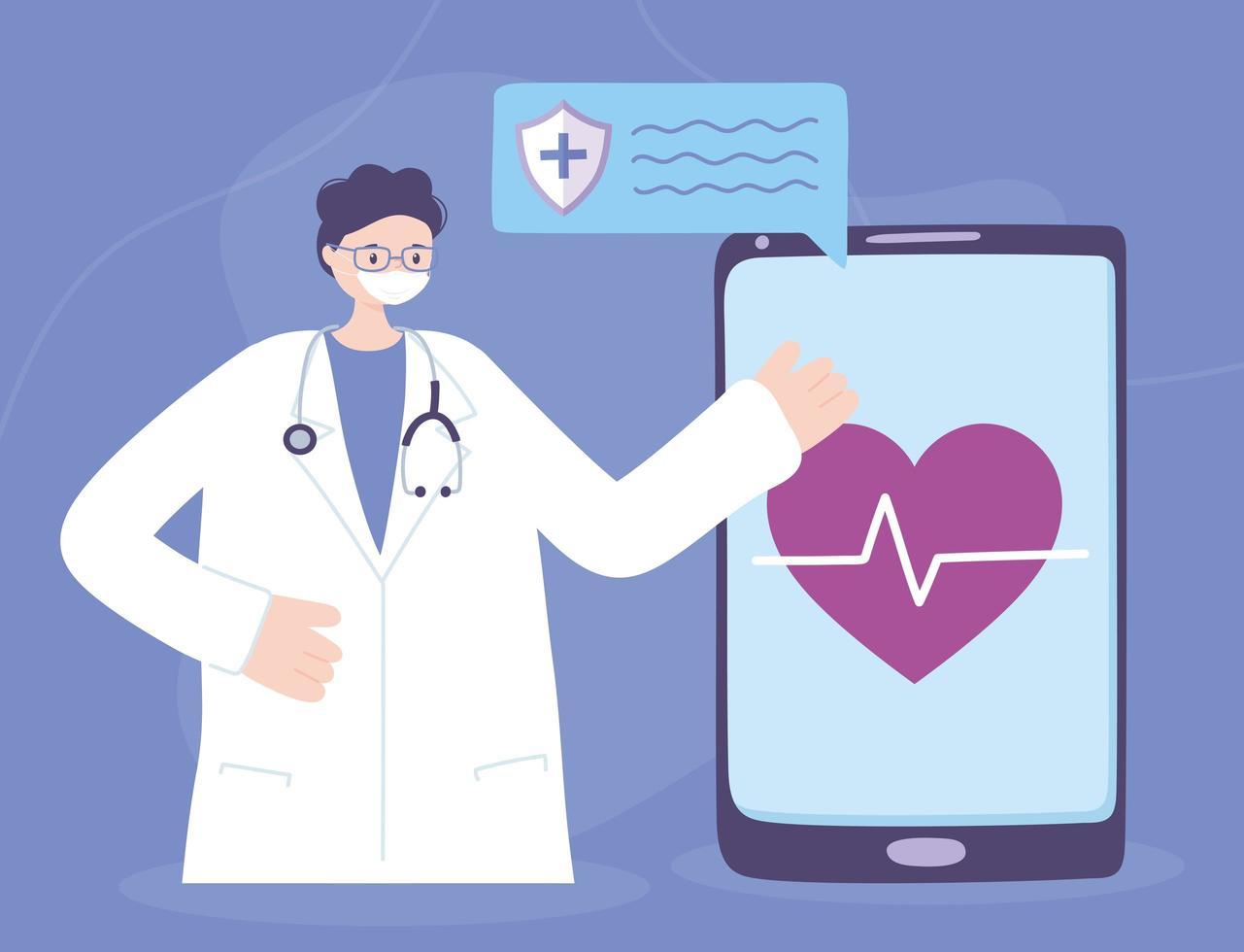 online medicinsk vård med läkare och smartphone vektor