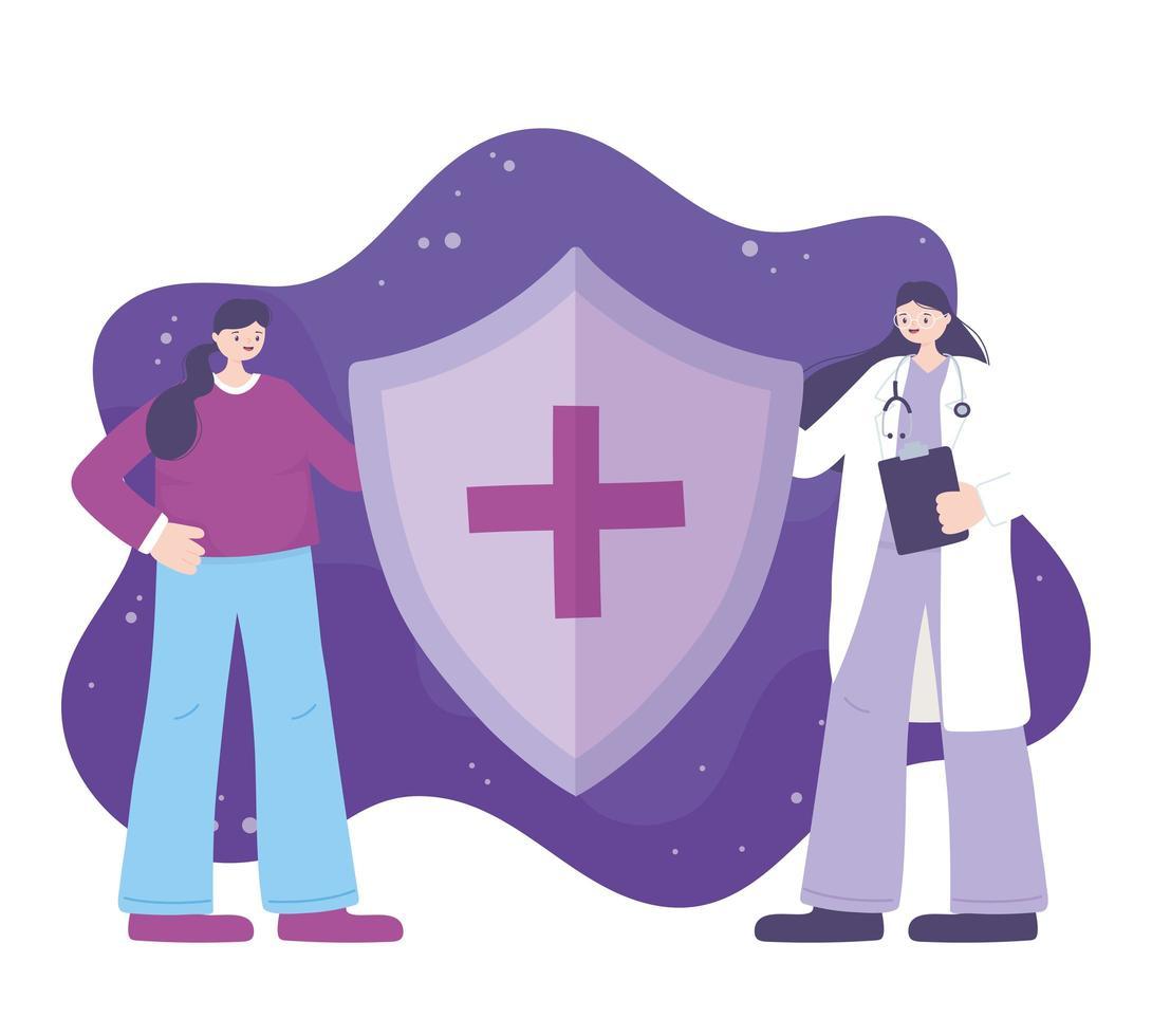 läkare och patient som håller en medicinsk sköld vektor