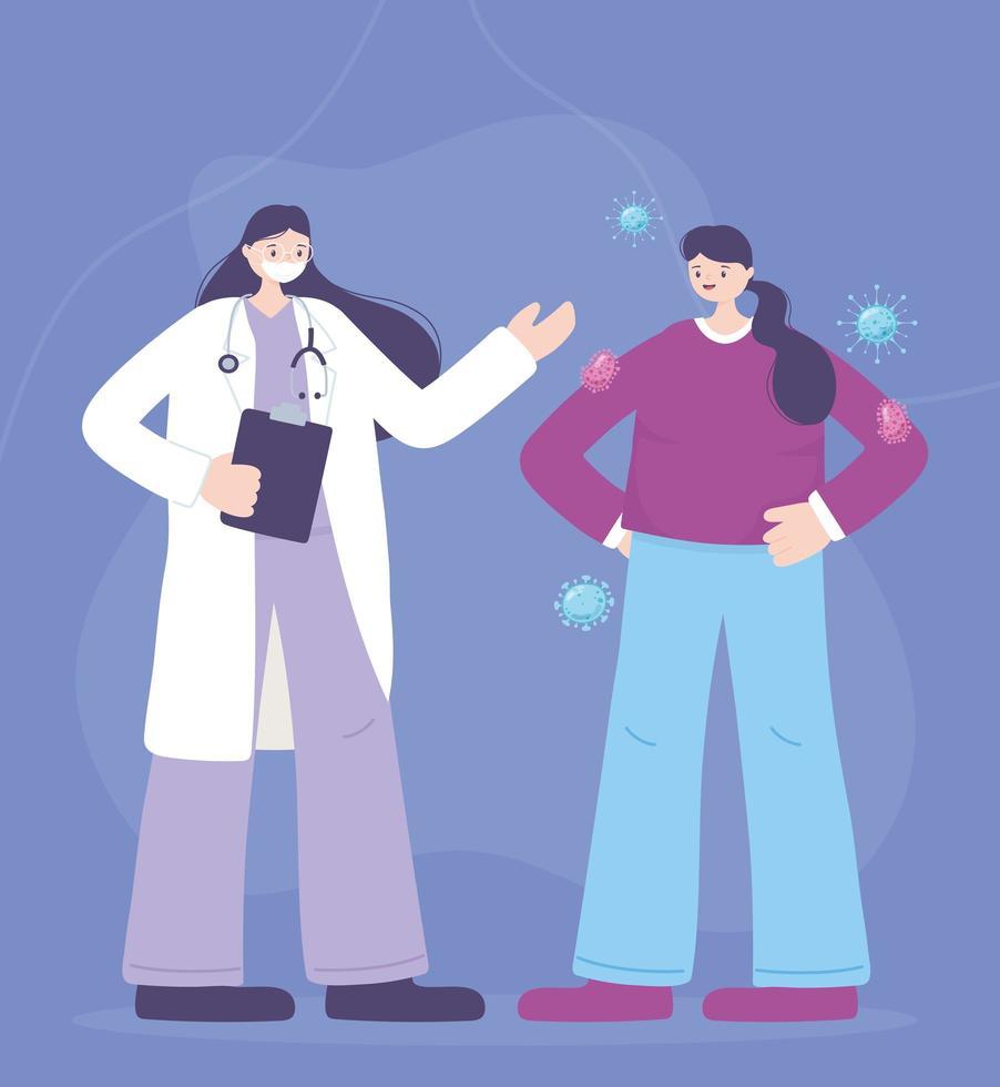 läkare och patient som sprider koronavirus vektor