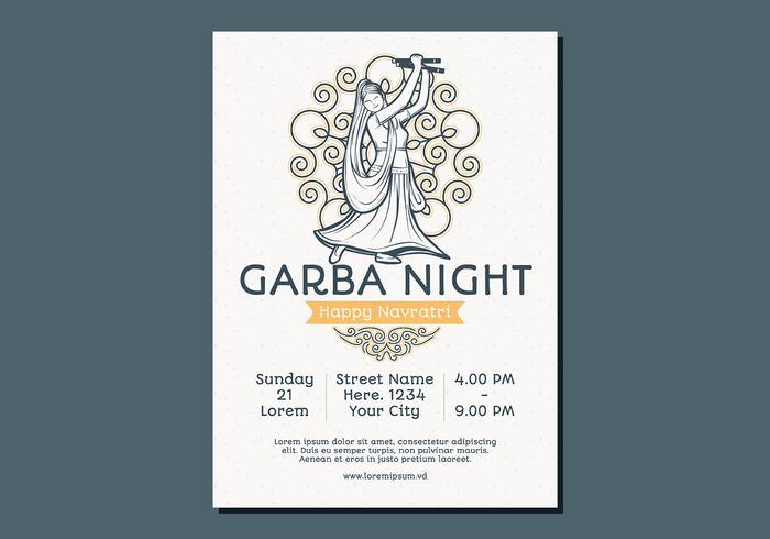 Tanzen Frau Garba Poster-Vorlage vektor