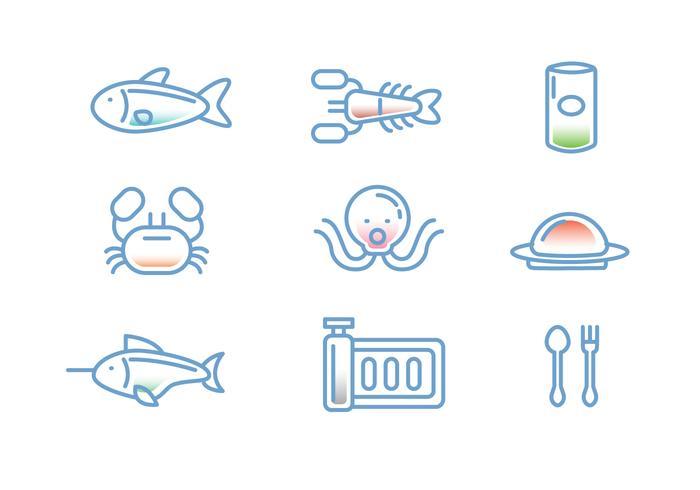 Meeresfrüchte Linear-Symbol Vektoren