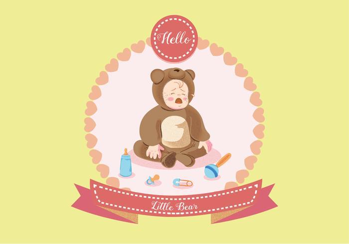 Baby weint in Bear Kostüm Vektor