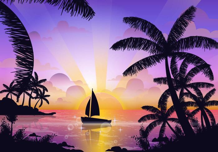 Szene von Tropical Playa vektor