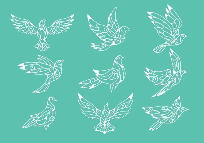 Dove oder Paloma Friedenssymbole Papier schneiden Stil Vektoren