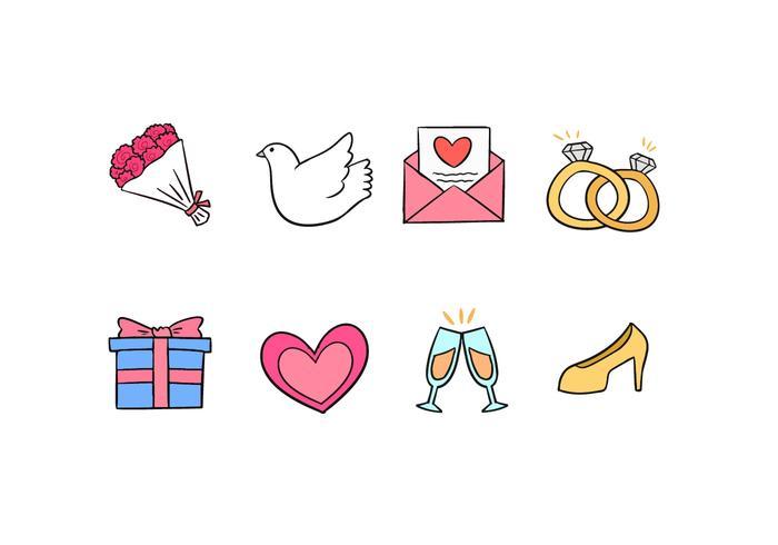 Hochzeit Doodle Icons vektor