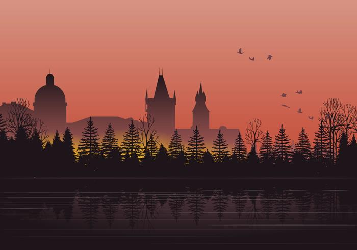 Silhouette Prague City vektor