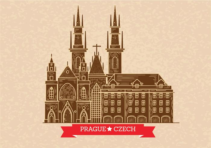 Prague Skyline Illustration på Boktryck Style vektor