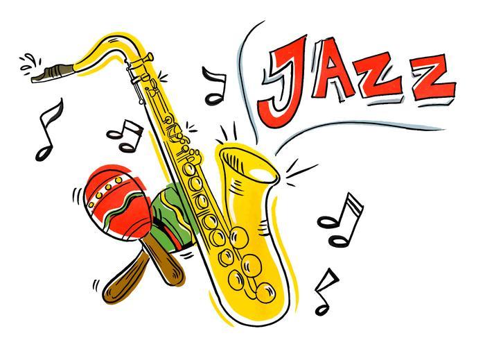 Colorful Iliustration Jazz saxofon och maracas vektor