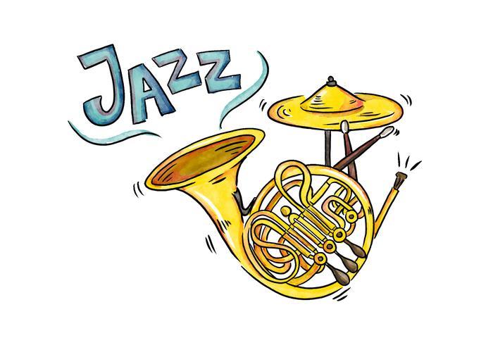 Gold Horn mit blauer Beschriftung Aquarell Stil vektor