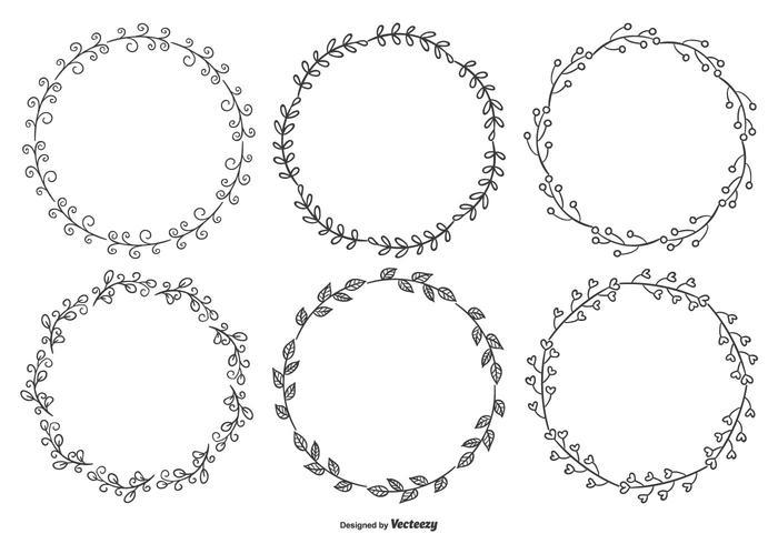 Nett Sketchy Blatt Frame Collection vektor